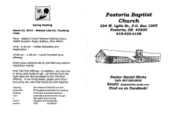 Fostoria Baptist Church Bulletin
